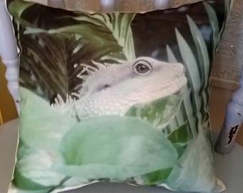 Handmade Iguana Lizard Wildlife Pillow, Nature Pillow, Reptile Decor, Wildlife Decor, Boy's Room Decor