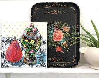Red Pear and Ginger Jar orginal acrylic mixed media still life painting by Polly Jones