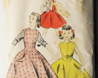 ON SALE 1940s Vintage Sewing Pattern Advance 7703 Girls Reversible Skirt & Weskit Pattern Size 12 Breast 30