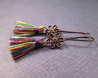 Tassel Earrings, Rainbow Cotton Tassels and Flowers, Geen Glass Rhinestone and Copper Dangle Earrings, FREE Shipping U.S.