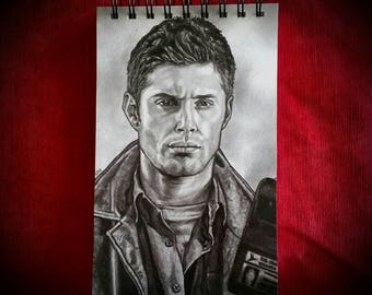 Supernatural Lined Jotter Pad. Reporters Notebook. 12 x 20cm. Dean Winchester. Jensen Ackles
