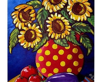 Sunflowers Tomatoes Fun Colorful  Whimsical Folk Art Ceramic Tile