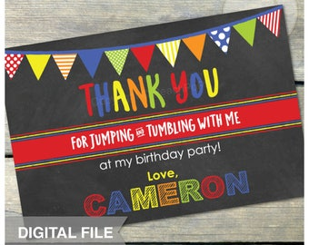 "Jump Tumble Play Birthday Party Gymnastics - Red - Thank You - 4"" x 6"" - DIGITAL Printable"