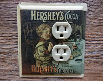 Unique Lighting Outlet Cover Covers Chocolate Cocoa Switchplate Made From Tins Tin Cans For Old Fashioned Kitchen Decor OLC-1149