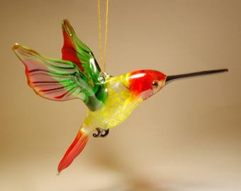 Handmade Blown Glass Figurine Art Bird Red, Green and Yellow Hanging HUMMINGBIRD Ornament