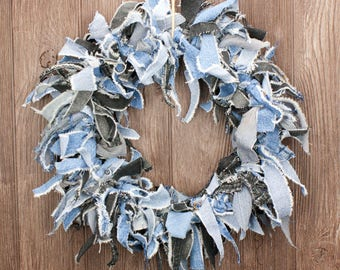 "Denim Rag Wreath | Blue Jean and Black Jean Mix | 15"" Rustic Farmhouse Wreath"