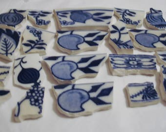 Mosaic Tiles Vintage Supplies 20 Focal Cobalt Blue  Love Apples, Butterfly, Blue Onions  Flowers  for your Artistic Mosaic Needs