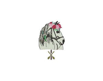 Boho Rose Horse Machine Embroidery File design - 4x4 inch or 10x10cm hoop - Boho Machine Embroidery - Digital Download