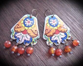 Tin Earrings, Bohemian Dangle Earrings. Tiny TIn Series, Gypsy Floral TIn Earrings