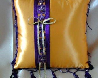 On Sale Harvest Gold & Aubergine/Wine Purple Beaded Fringe Ring Pillow•Fall Leaves Ring Pillow•Autumn Wedding•Fall Wedding•Ring Bearer•Ring