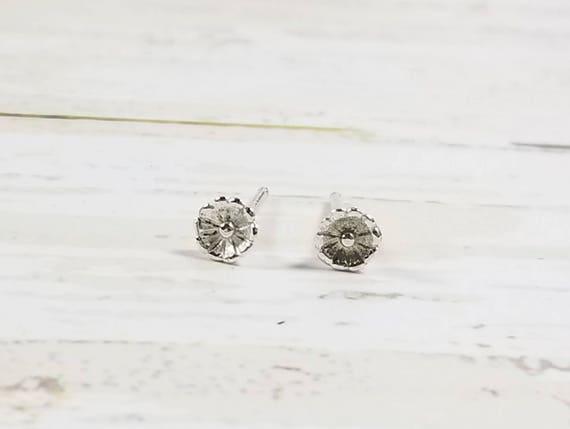 Sterling Silver Round Flower Post Earrings- Stud Earrings