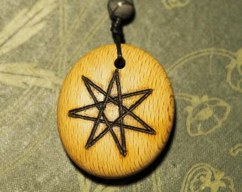 Beech Wood Fairy Star Pendant  - on cord - for Knowledge- Pagan, Wicca, Witchcraft, Septagram, Elven Star