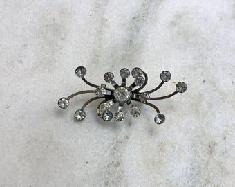 Vintage Brooch, Pin, Rhinestones, Silver, Spider, 1950's