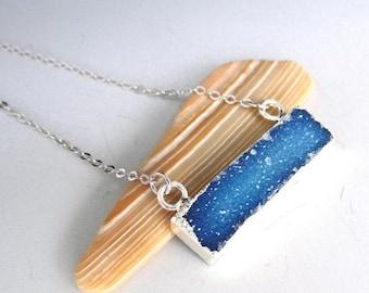 Blue Druzy Silver Necklace