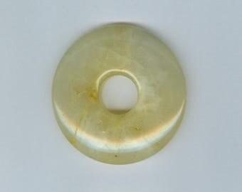 Yellow Agate Donut, 50mm Cream Yellow Agate Gemstone Pi Donut Focal Pendant 650T