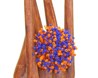 PomPom Ring Stretchy Seed Beads Orange and Blue Florida Pom Pom Kids Adults One Size