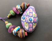 Lampwork glass bead set handmade by Lori Lochner soft plum and copper green blown glass artisan sra rustic designer jewelry supply sea glass