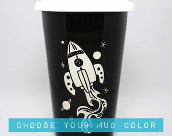 Rocket Ship Travel Mug - ceramic lidded coffee cup