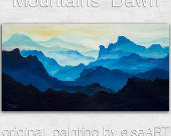 Sale Original Landscape painting Dawn Mountain skyline Art on gallery wrap canvas Ready to hang by tim Lam 48x24