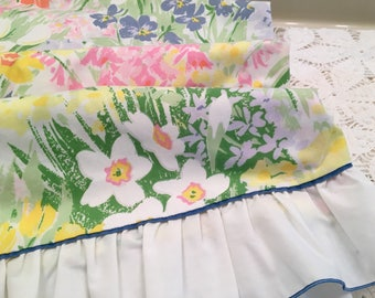 Vintage Queen Flat Sheet - Pacific - Miracle -Multi- Floral and Green - Queen Flat - Ruffle Edge - Pink Orange Purple Blue - Soft Cotton Ble