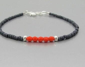 Seed Bead Bracelet, Beaded Friendship Bracelet, Red Gray Dainty Petite, Gift for Her, Free Shipping