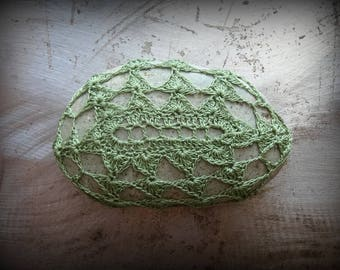 Crocheted Stone, Lace, Original, Handmade, Unique Gift, Bohemian, Home Decor, Gift, Small, Green, Miniature Art, Collectible, Monicaj