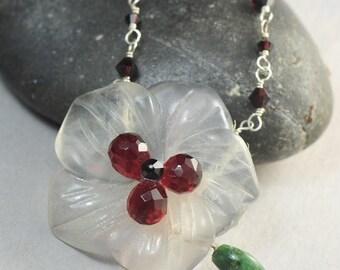 SUMMER SALE Garnet Swarovski Flower Necklace