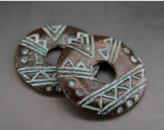 SALE Tribal Circle Disk Charm Pair Mykonos Greek Copper Antiqued Green Turquoise Naos