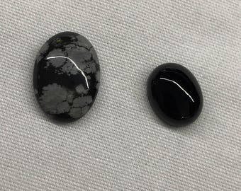 Snowflake Obsidian and onyx cabochons
