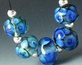 Lampwork beads/SRA lampwork/beads/cobalt/bubble/ blue/Double Helix/