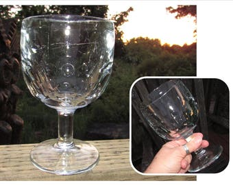 Vintage Thumbprint Beer Boombas, Beer Goblet Glass, Pedestal, barware, pint glass