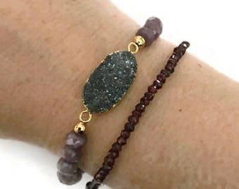Rainbow druzy and mauve stretch bracelet