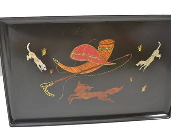 Vintage Couroc Tray with Fox Hunting Equestrian Rare