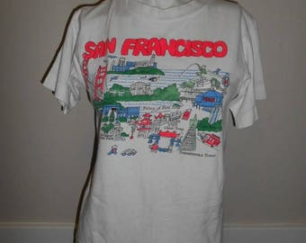 Closing Shop 40%off SALE 80s 90s Vintage SF San Francisco Golden Gate Bridge cable car shirt  Made in USA