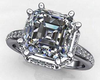 maya ring - 2.7 carat round cut ZAYA moissanite engagement ring, vintage style engagement ring