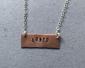Loved Hand-stamped Copper Necklace
