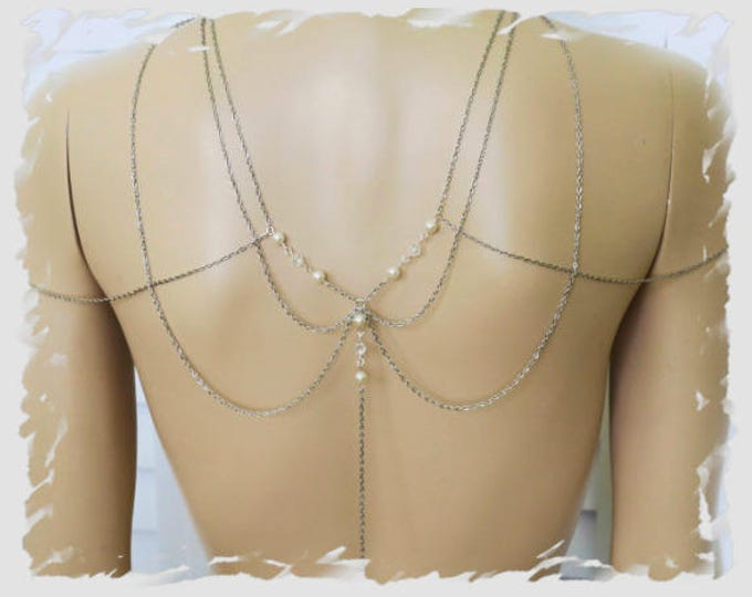 Shoulder Chain Bridal Back Drop Necklace Great Gatsby Swarovski Pearl Wedding Jewelry Body Draping 1920s Pearl Choker Art Deco MultiStrand