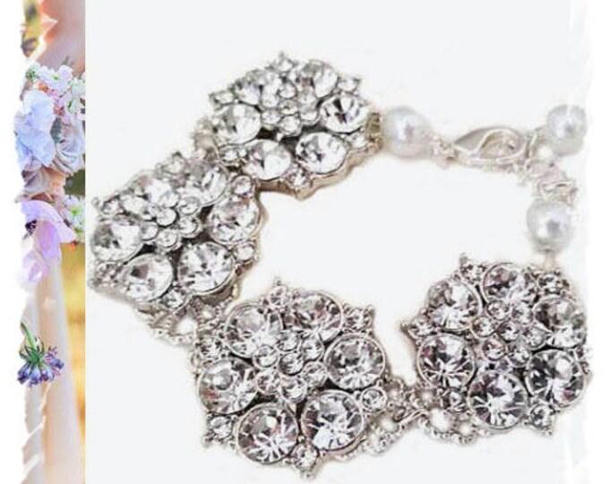 Bridal Statement Bracelet Crystal Wedding Bracelet Art Deco Cubic Zirconia Flower Wedding Jewelry Gatsby Bracelet Old Hollywood CZ Pearl