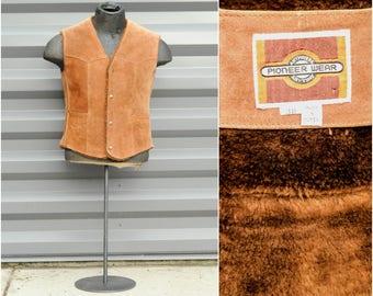 Size 38, Medium, Brown Vest, Suede Vest, Vintage Vest, 1970s Vest, Button Front Vest, Western Wear, Western Vest, Rodeo Vest, NFR Vest