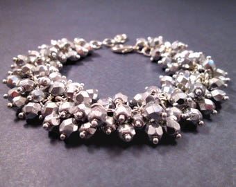 Silver Charm Bracelet, Wire Wrapped Faceted Glass Beads, Cha Cha Style Bracelet, FREE Shipping U.S.