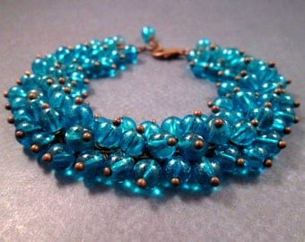 Cha Cha Style Bracelet, Teal Blue Glass Beaded, Copper Wire Wrapped Charm Bracelet, FREE Shipping U.S.