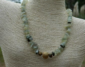 Prehnite Extra Large Nugget Bead Gemstone Necklace