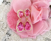 Sparkle Rose Pink Swarovski Rhinestone Glamour Statement Pear Shape Earrings