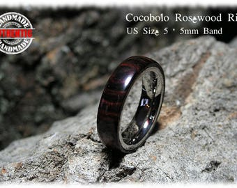 Cocobolo Rose Wood Ring with Stainless Steel Core - Handcrafted - FREE SHIPPING