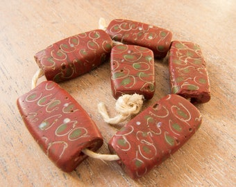 Antique Venetian Late 1800s - Early 1900s Rare Matched Trade Bead Set - Tabular Brick Red/Green/White - Lot of 6