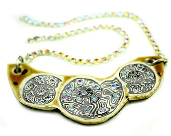 Ammonite Fossil Sparkle Surly Ceramic Necklace With Rhinestone Chain