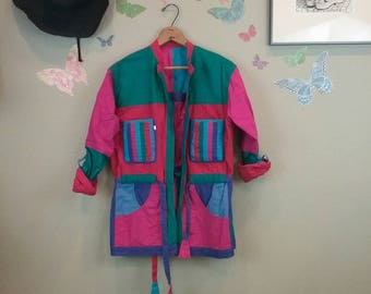 Vintage 80s abstract cotton reversible color block jacket ~ Avantgarde ~ new wave ~ wearable art ~ street fashion