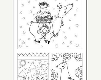 Summer Sale Voodoodles - Llama Collage coloring page