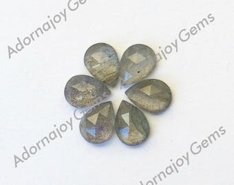 Labradorite 7x5mm Gemstone Cabochon Pear Rose Cut FOR TWO