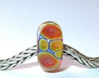 Luccicare Lampwork Bead - Opal VI -  Lined with Sterling Silver